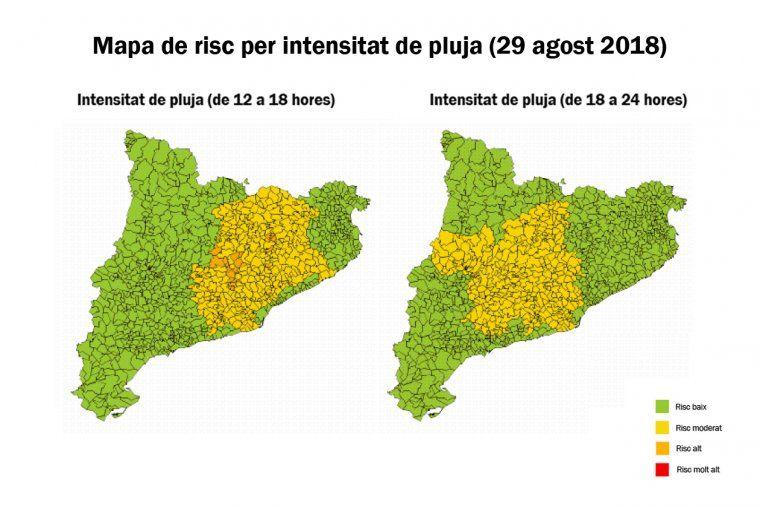Mapa De Protecció Civil.Situacio De Prealerta De L Inuncat Per Previsio De Pluja